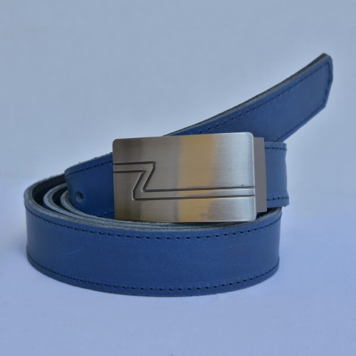 Kožený pánský opasek šířka 3 cm, hranatá spona, barva modrá