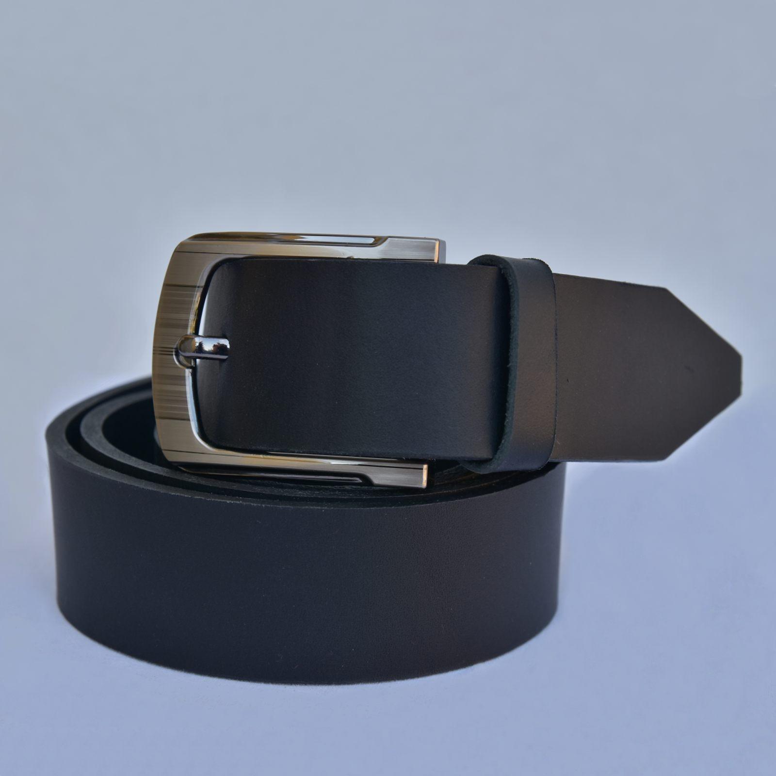 PÁNSKÝ KOŽENÝ PÁSEK - šířka 3,5 cm, STŘÍBRNÁ SPONA - černý