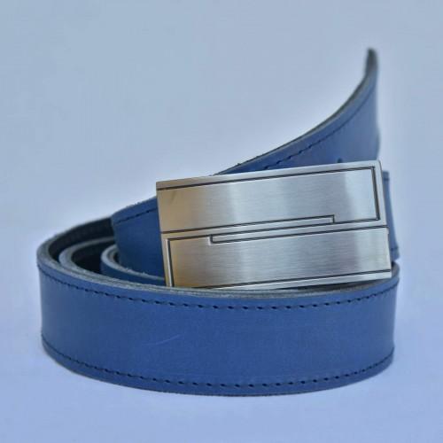 ELEGANTNÍ KOŽENÝ PÁSEK, šíře 3 cm, barva kůže modrá