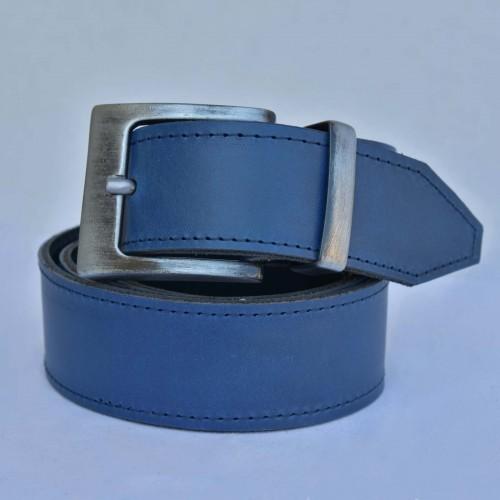 KOŽENÝ PÁNSKÝ OPASEK, ŠÍŘKA 4 cm, HRANATÁ SPONA - barva modrá