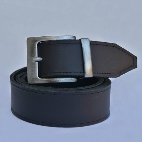 KOŽENÝ PÁNSKÝ OPASEK, ŠÍŘKA 4 cm, HRANATÁ SPONA - černý