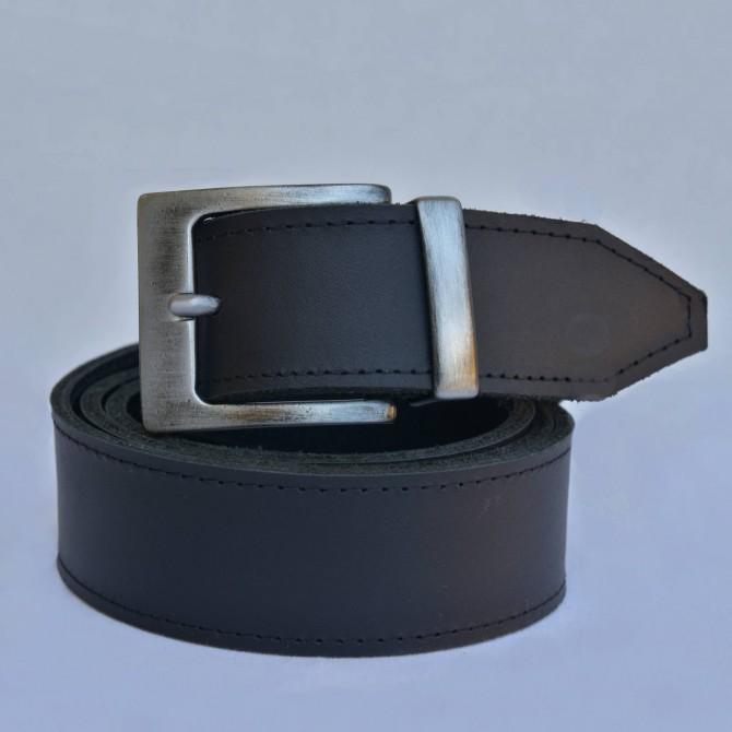 KOŽENÝ PÁNSKÝ OPASEK ČERNÁ HRANATÁ SPONA - šířka 3,5 cm, černý